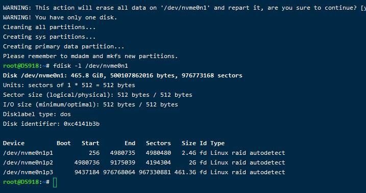 黑群晖DS918开启m.2 nvme固态硬盘做存储空间